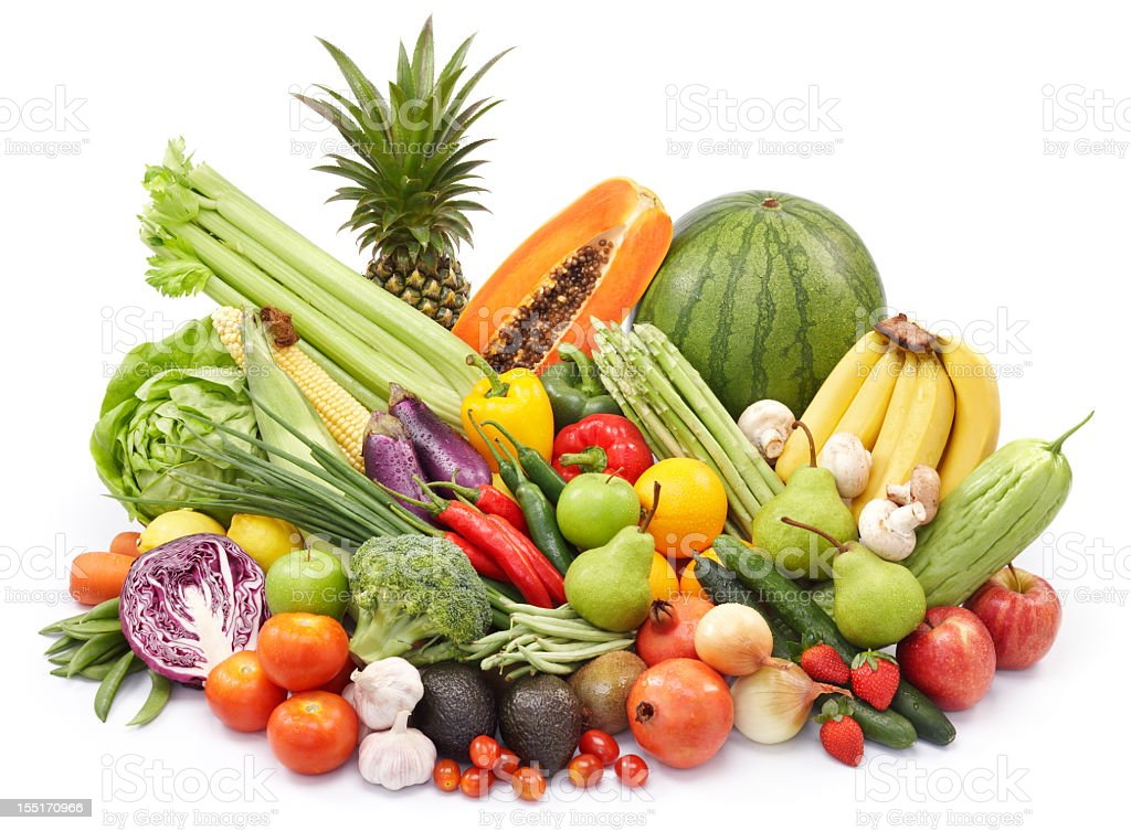 A pile of various vegetables and fruits royalty-free stock photo
