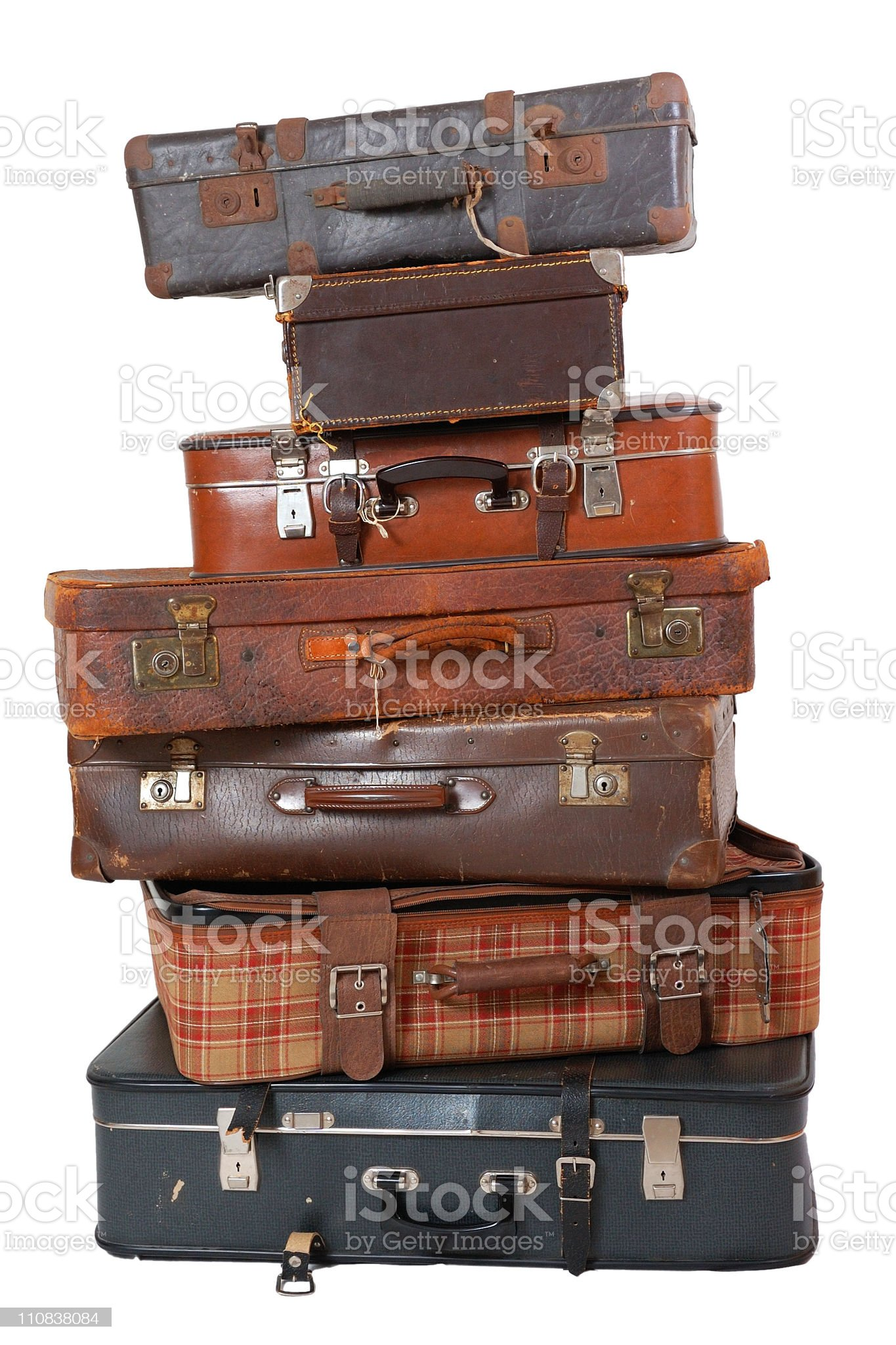 Pile of vintage luggage royalty-free stock photo
