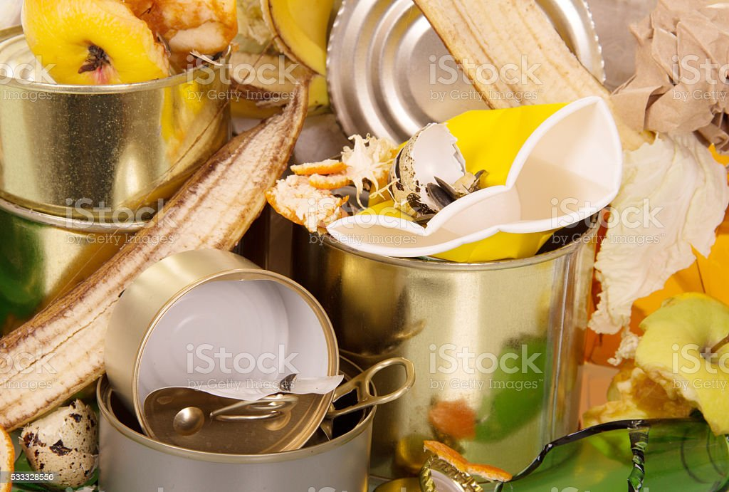 Pile of waste food and household closeup. Background stock photo