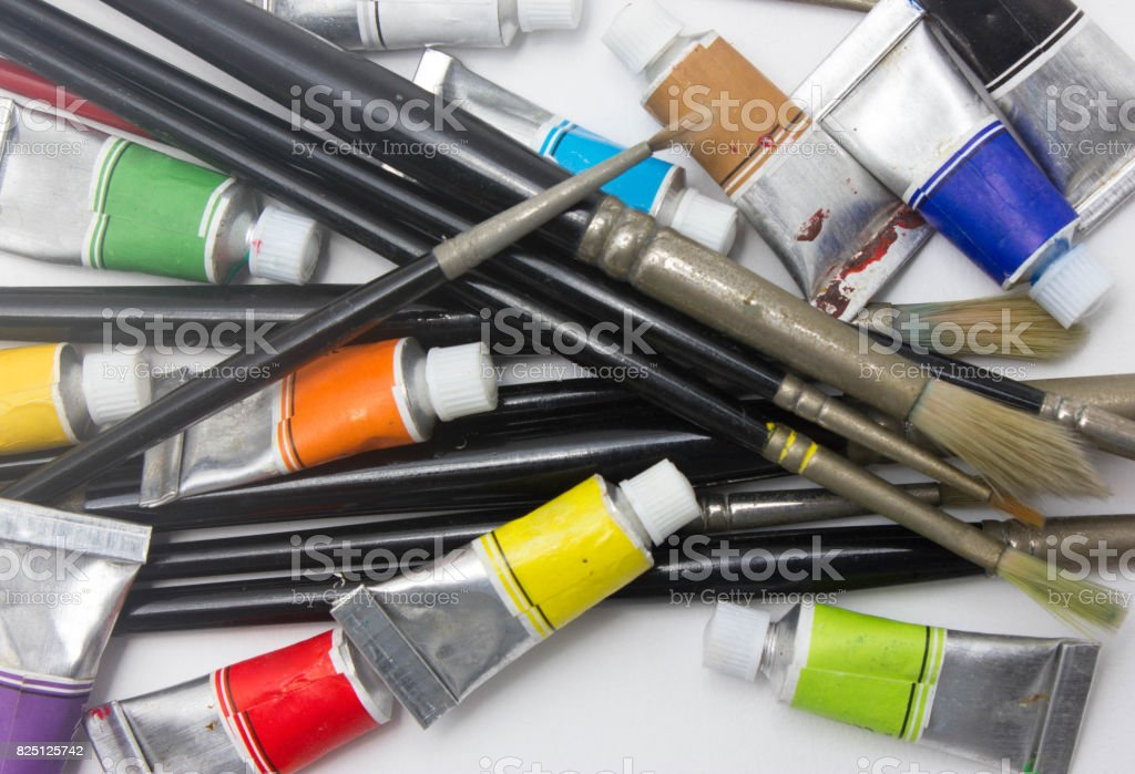 Pile of water color tubes stock photo