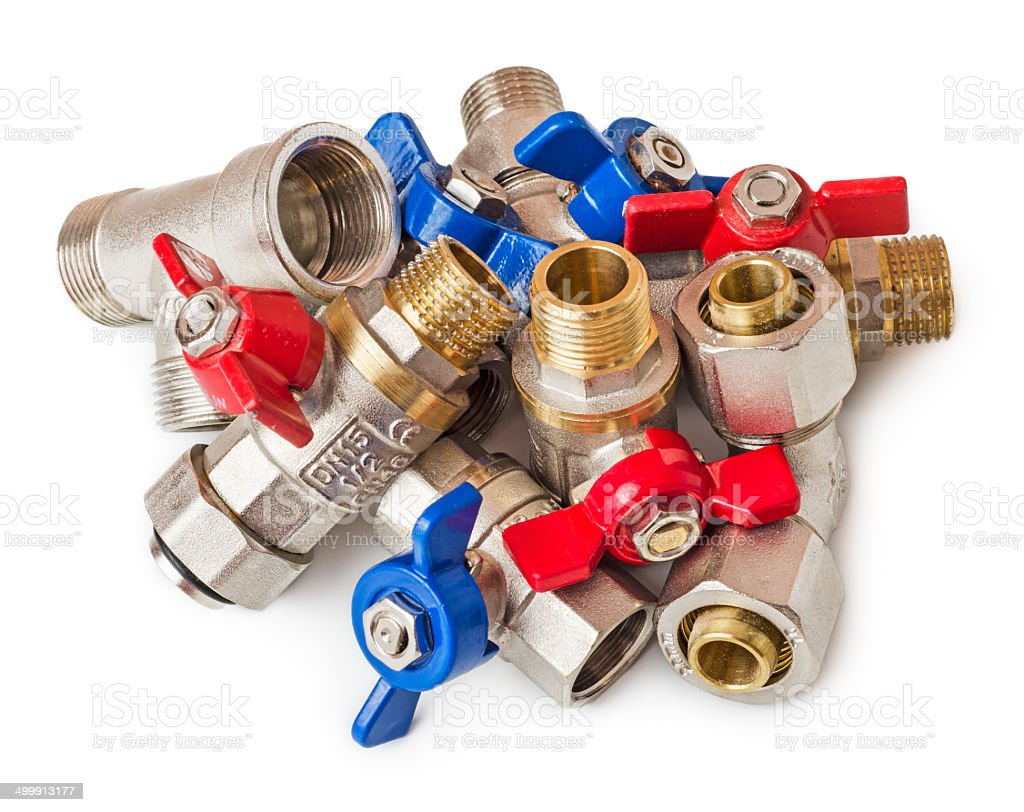 Pile of water valves stock photo