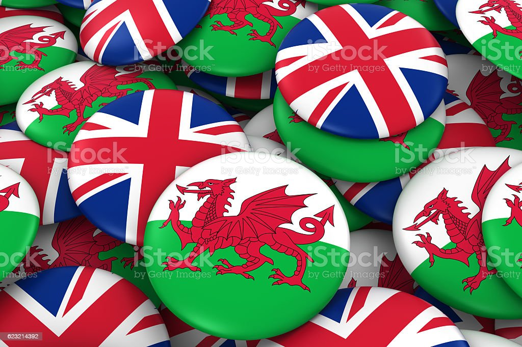 Pile of Welsh and British Flag Buttons 3D Illustration vector art illustration