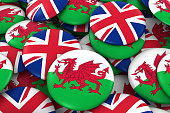 Pile of Welsh and British Flag Buttons 3D Illustration
