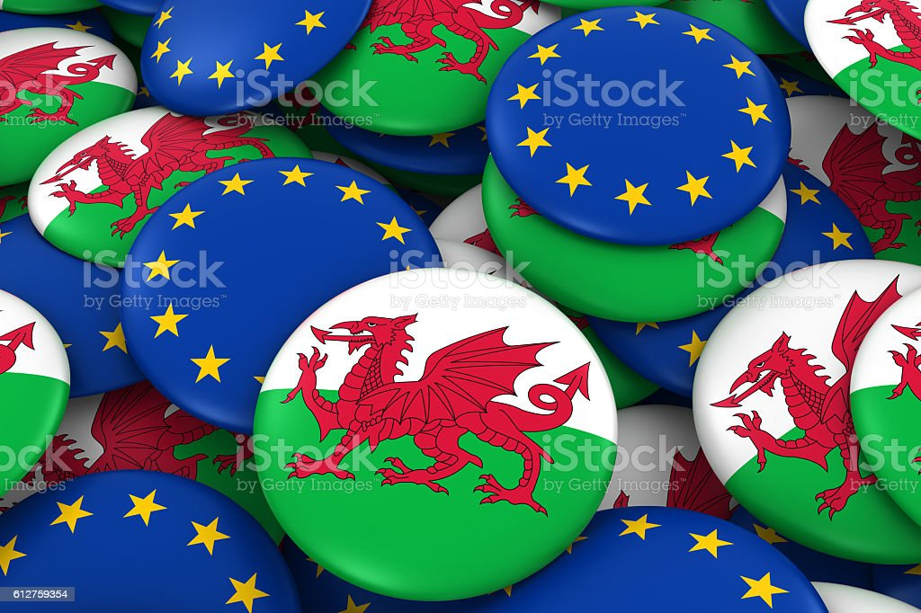 Pile of Welsh and European Flag Buttons 3D Illustration vector art illustration