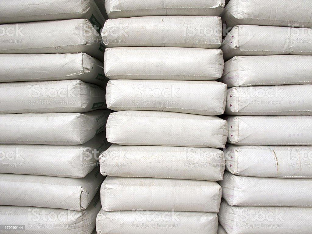 Pile of white plastic sacks royalty-free stock photo