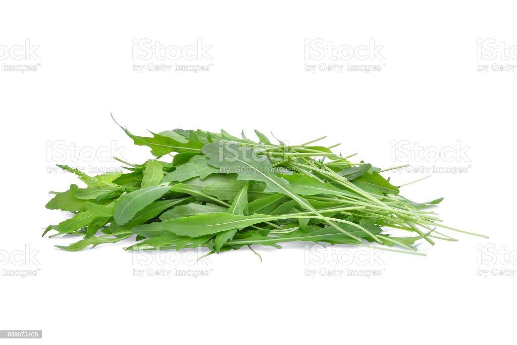 pile of wild rocket or arugula green leaves isolated on white backbground stock photo