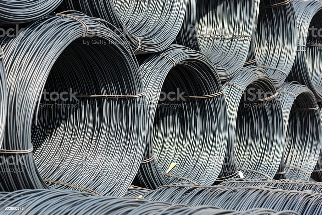 Pile of wire rod or coil for industrial usage stock photo