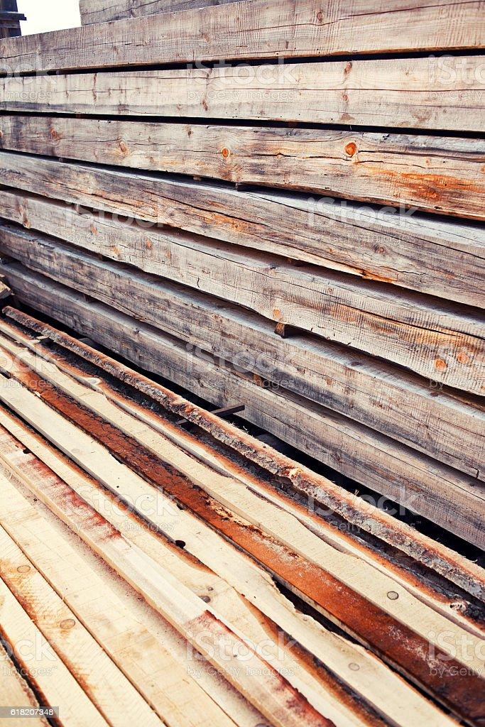 Pile of wood beams stock photo