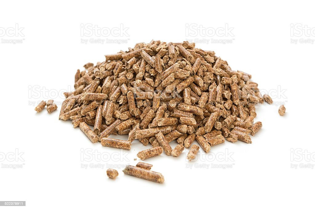Pile of wood pellets stock photo