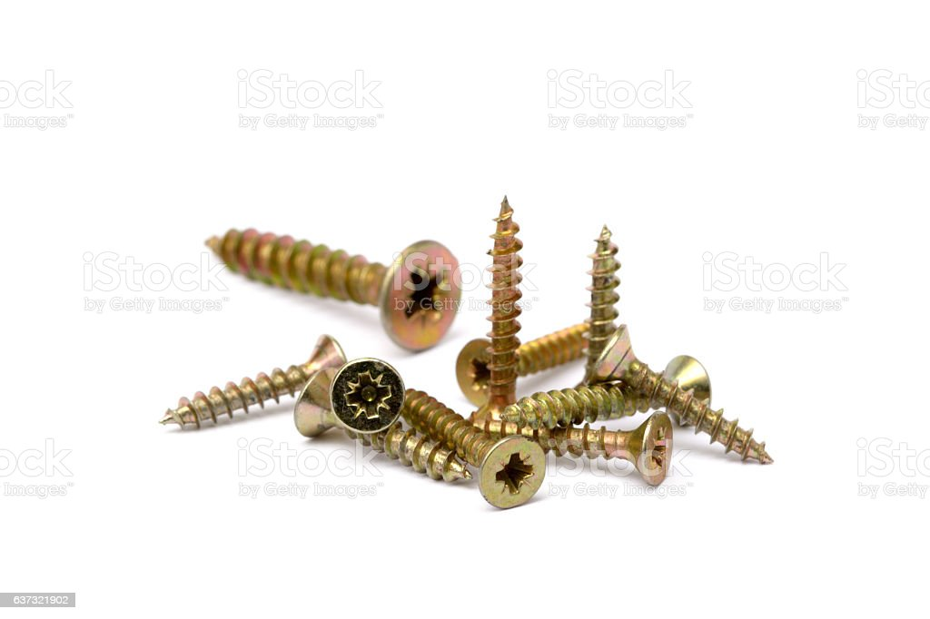 Pile of wood screws stock photo