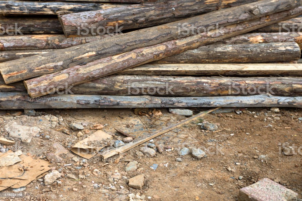Pile of wooden beams stock photo