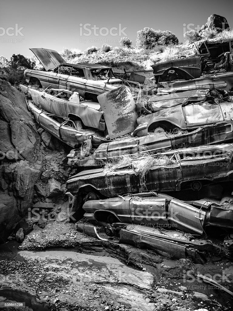 Pile Of Wrecked Cars In Catstair Canyon, Utah royalty-free stock photo