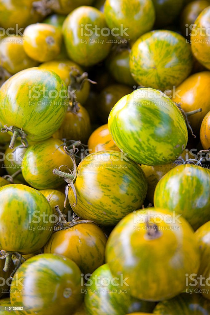 Pile of Yellow and Green Tomatoes royalty-free stock photo