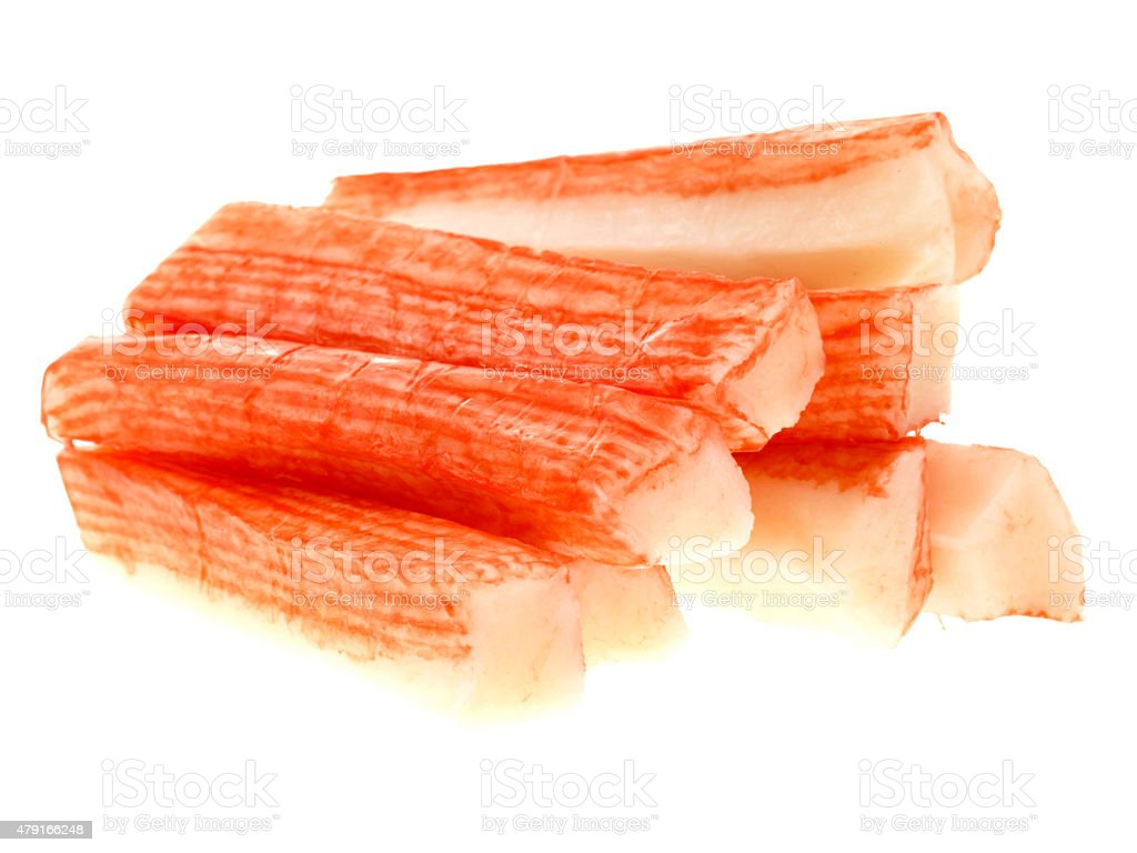 Pile or Stack Of Artificailly Flavored Crab Sticks stock photo