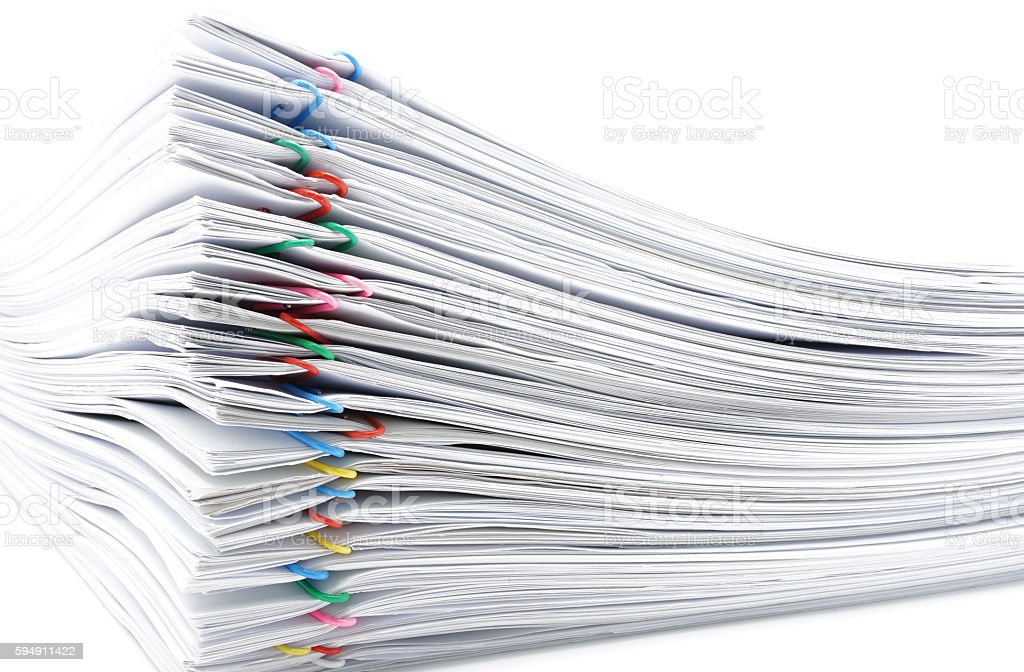 Pile overload paperwork on white background royalty-free stock photo
