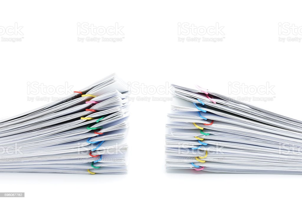 Pile overload paperwork two sets on white background royalty-free stock photo