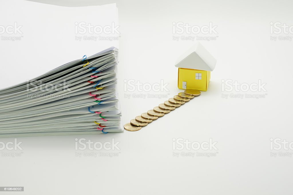 Pile overload paperwork with colorful paperclip royalty-free stock photo