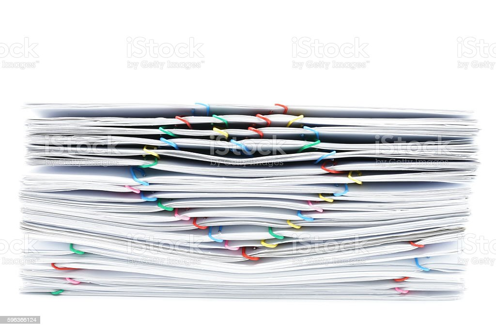 Pile overload white paperwork on white background royalty-free stock photo