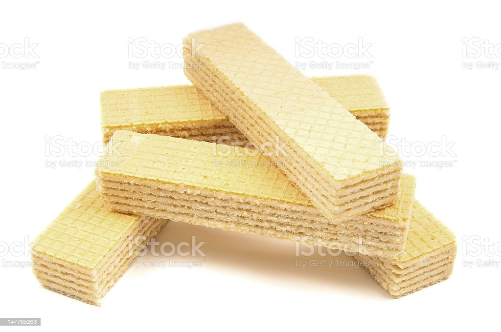 Pile waffles on white background royalty-free stock photo