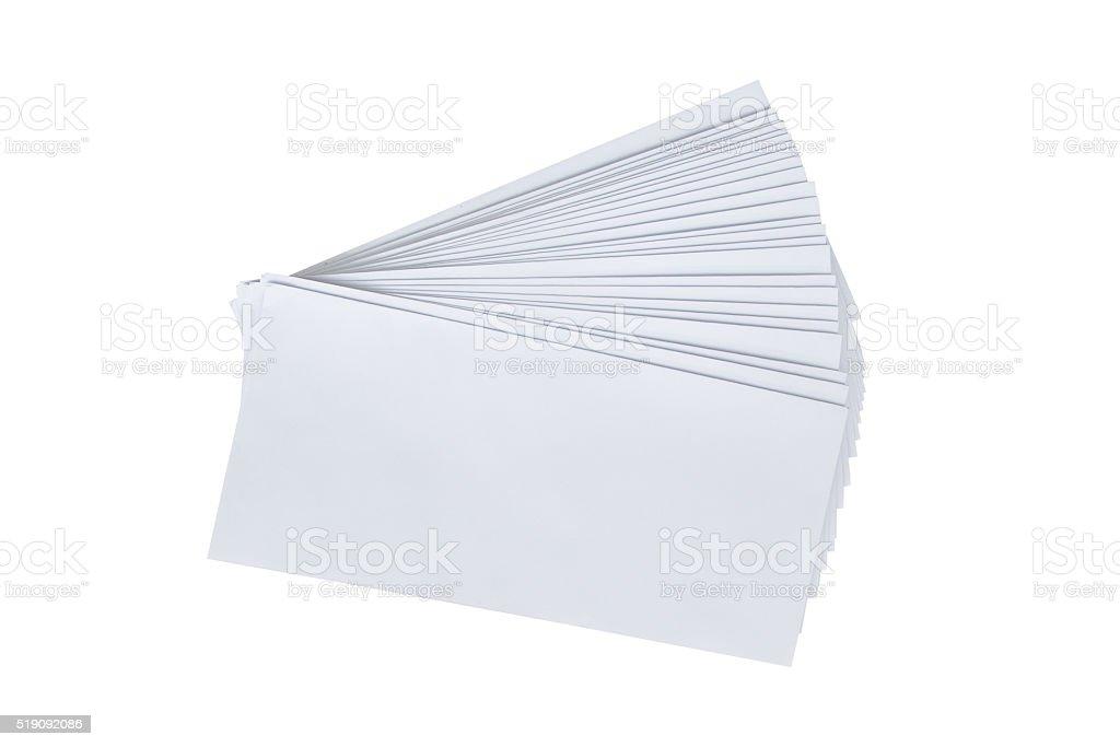 Pile white envelope letter office isolate on white background stock photo