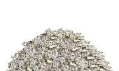 Pile with dollar bills