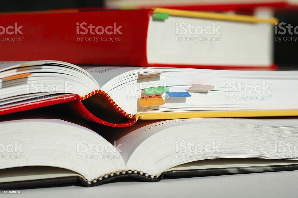Piled books stock photo
