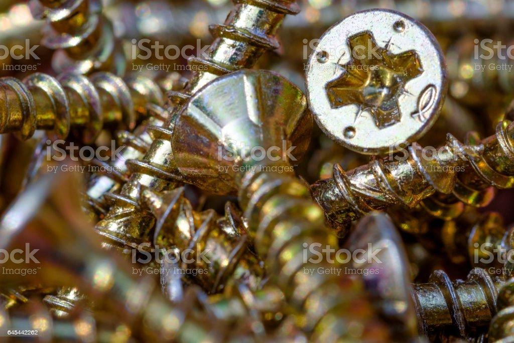 Piled philips screws stock photo