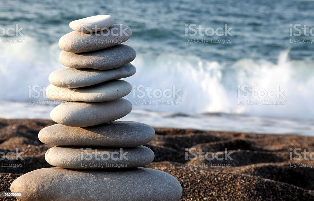 Piled Stoness on the Beach stock photo