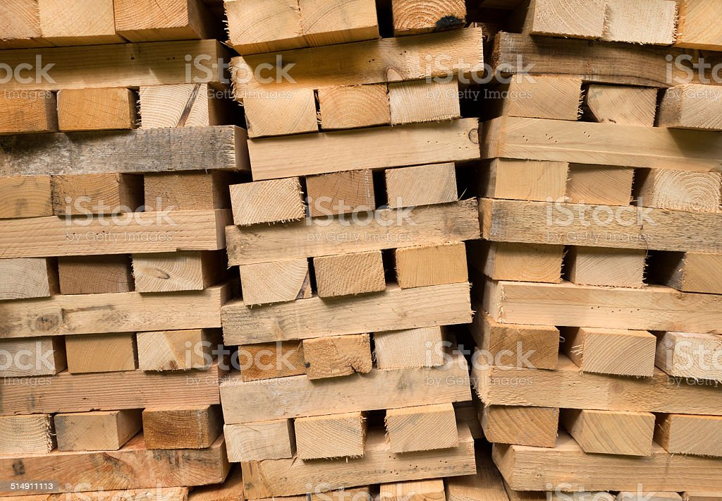 Piled wooden beams royalty-free stock photo