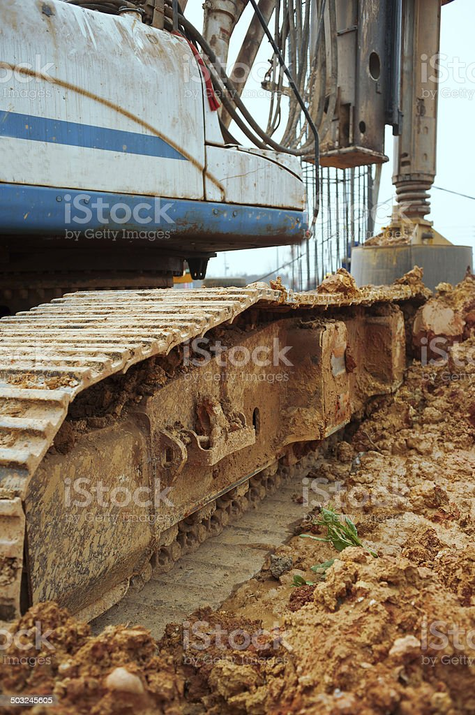 Pile-drivers stock photo