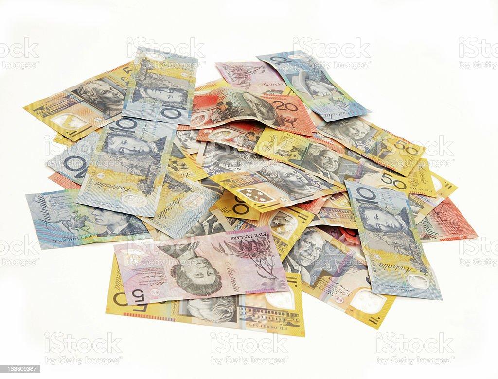 Piles of Aussie Dollars royalty-free stock photo