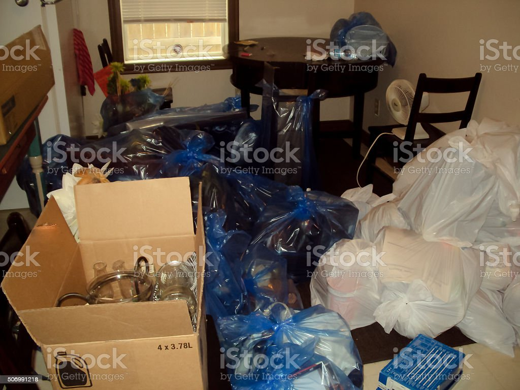 Piles of bagged good for storage stock photo