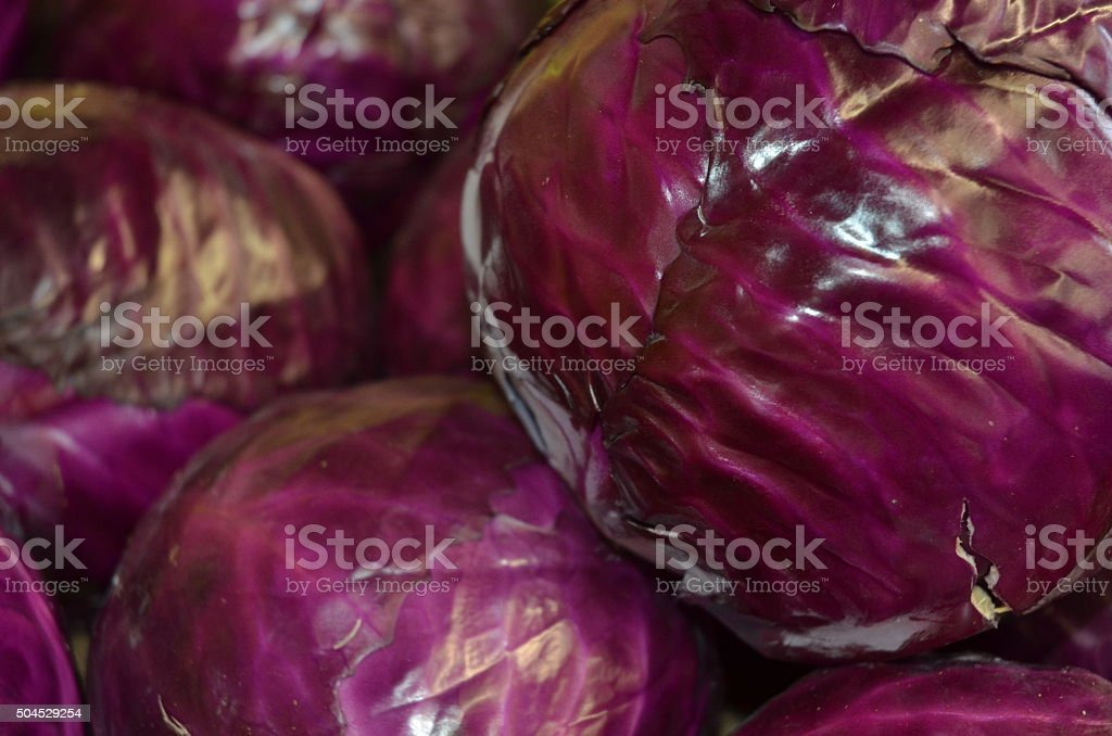 Piles of Bright Purple Cabbages for Sale at Outdoor Market stock photo
