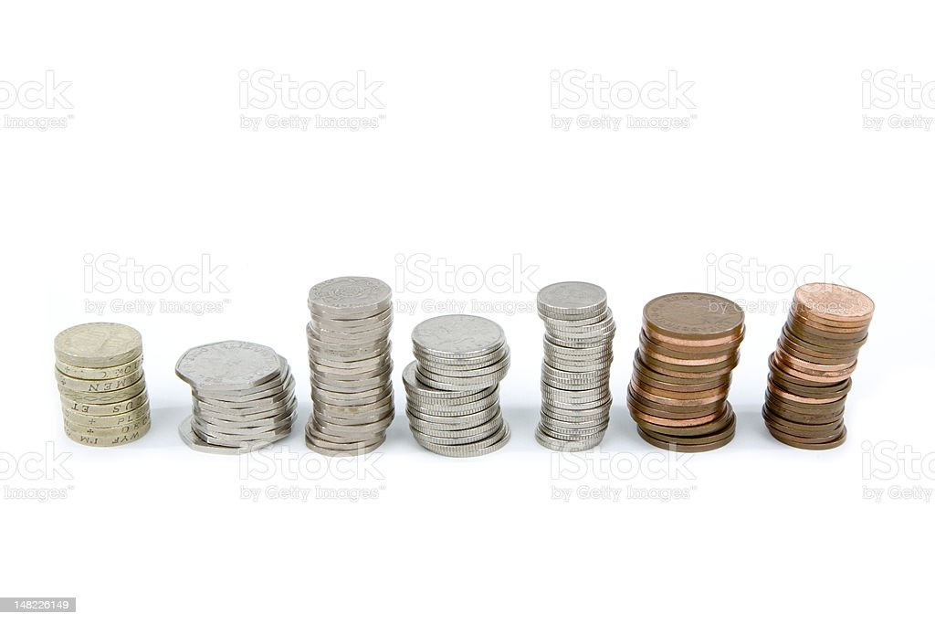 Piles of British Coins royalty-free stock photo