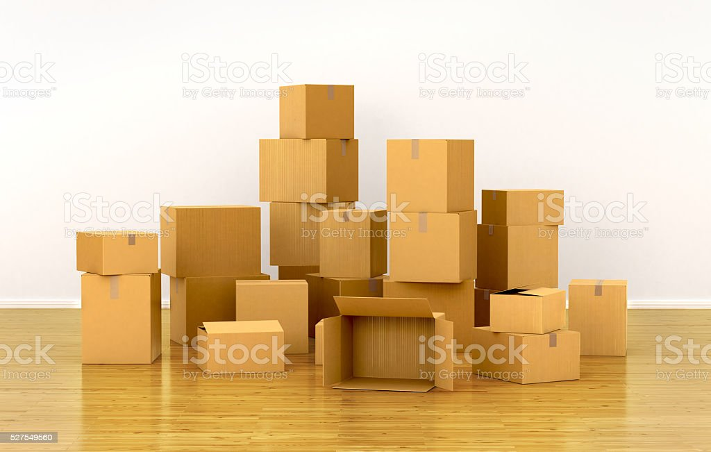 piles of cardboard boxes. 3d illustration stock photo