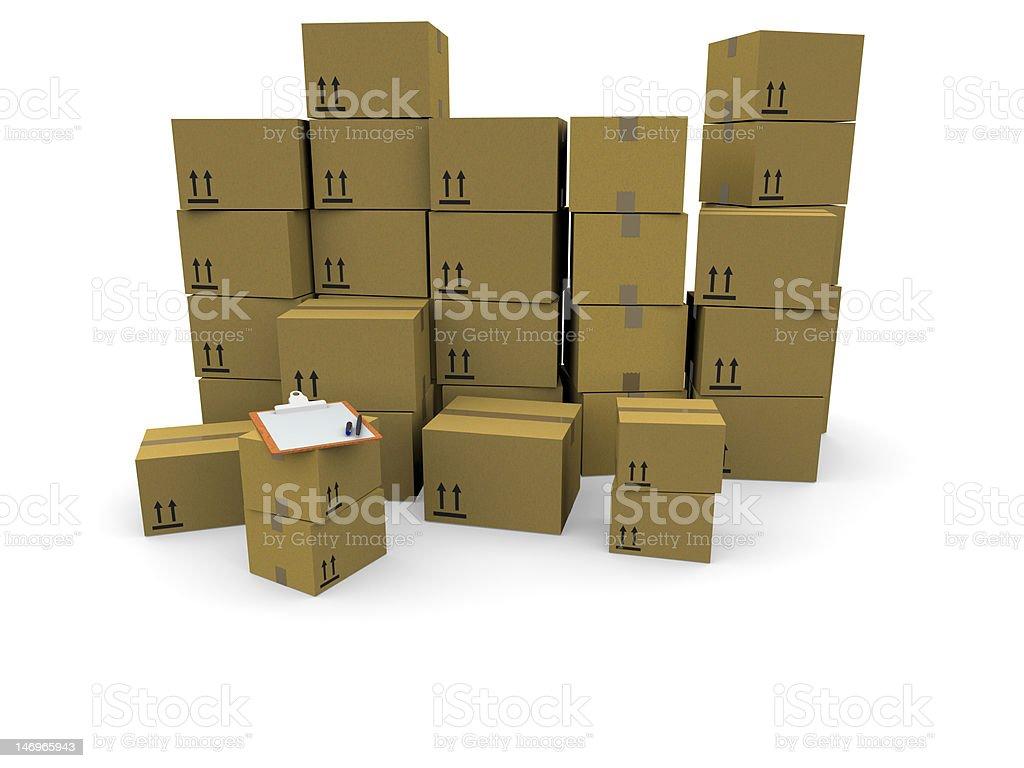 Montones de cajas de cartón foto de stock libre de derechos