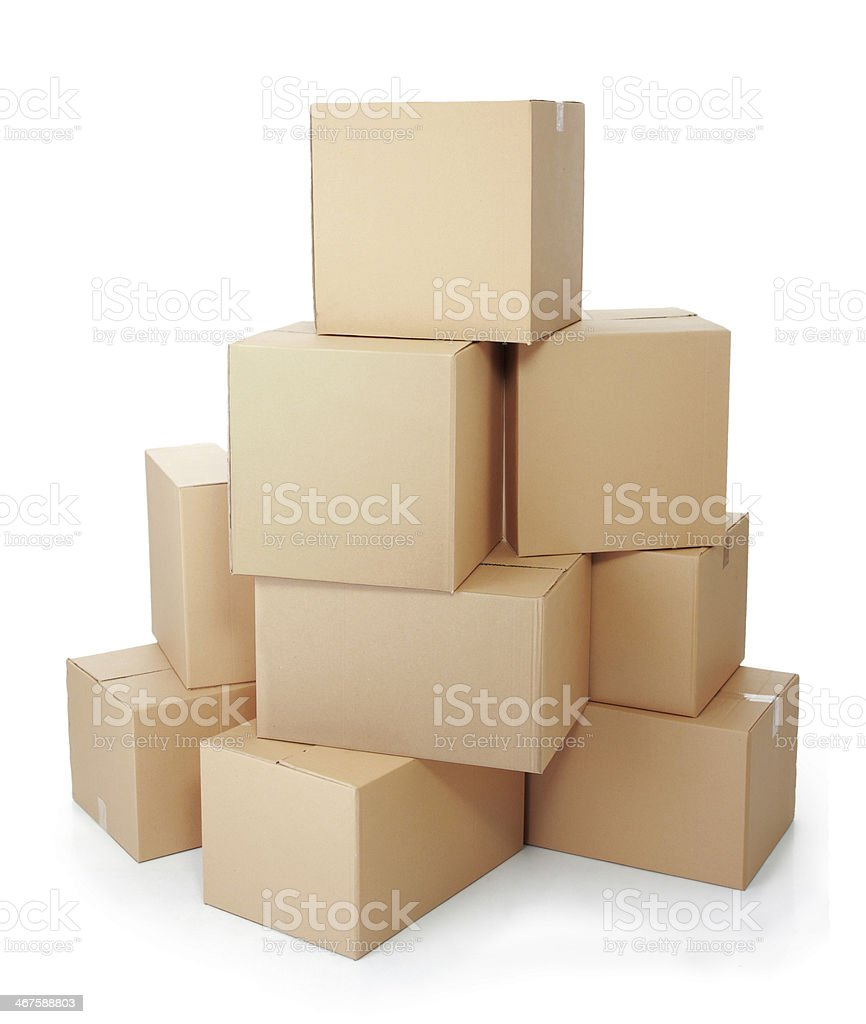 piles of cardboard boxes stock photo