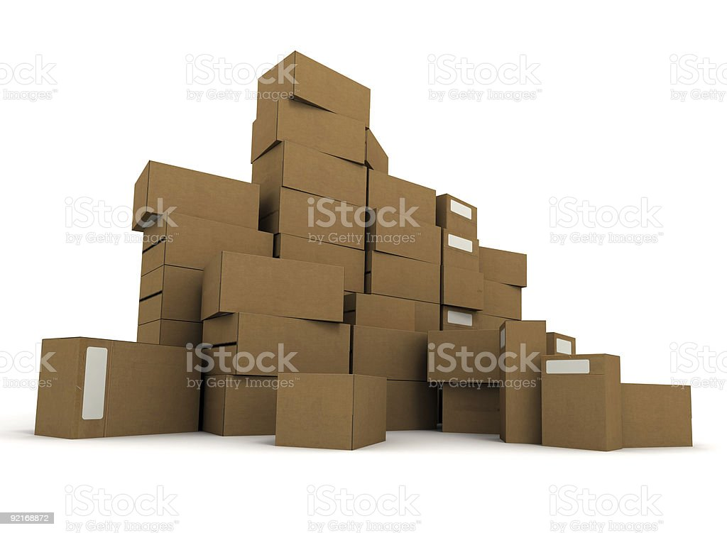 Piles of cartons stock photo