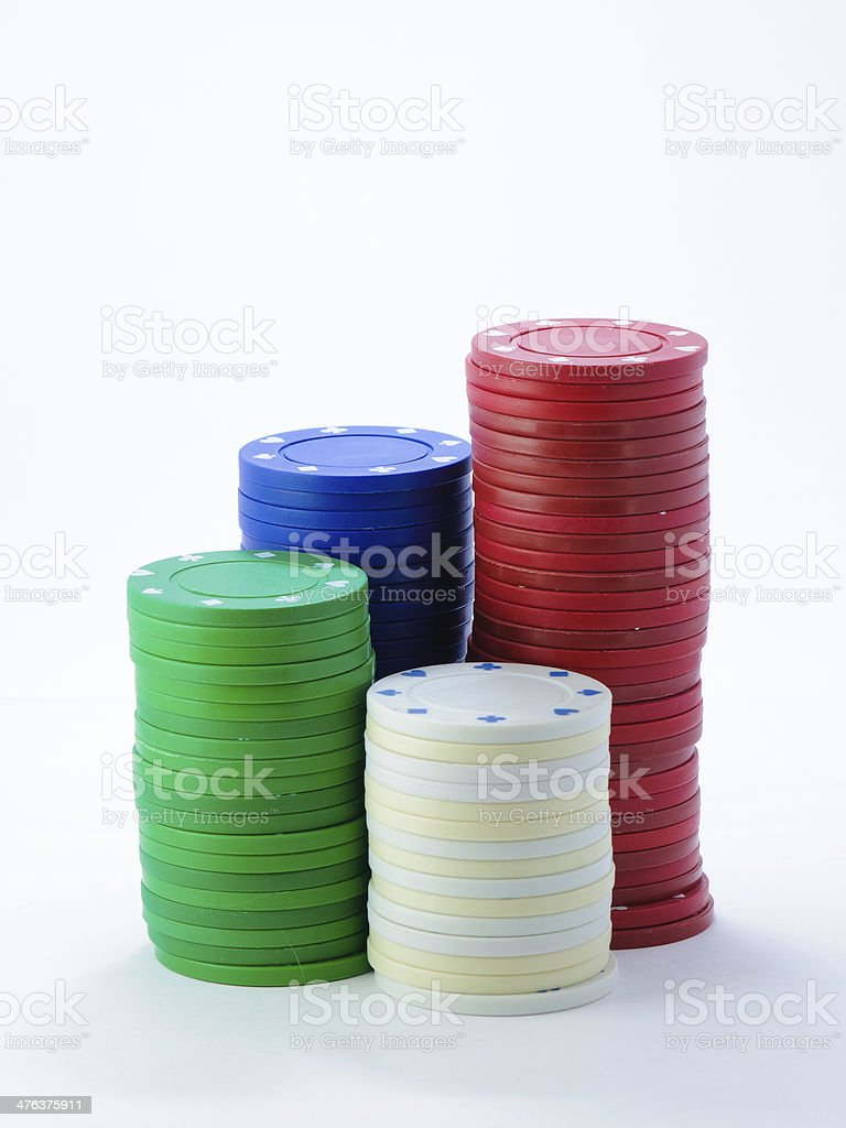Piles of casino chips royalty-free stock photo