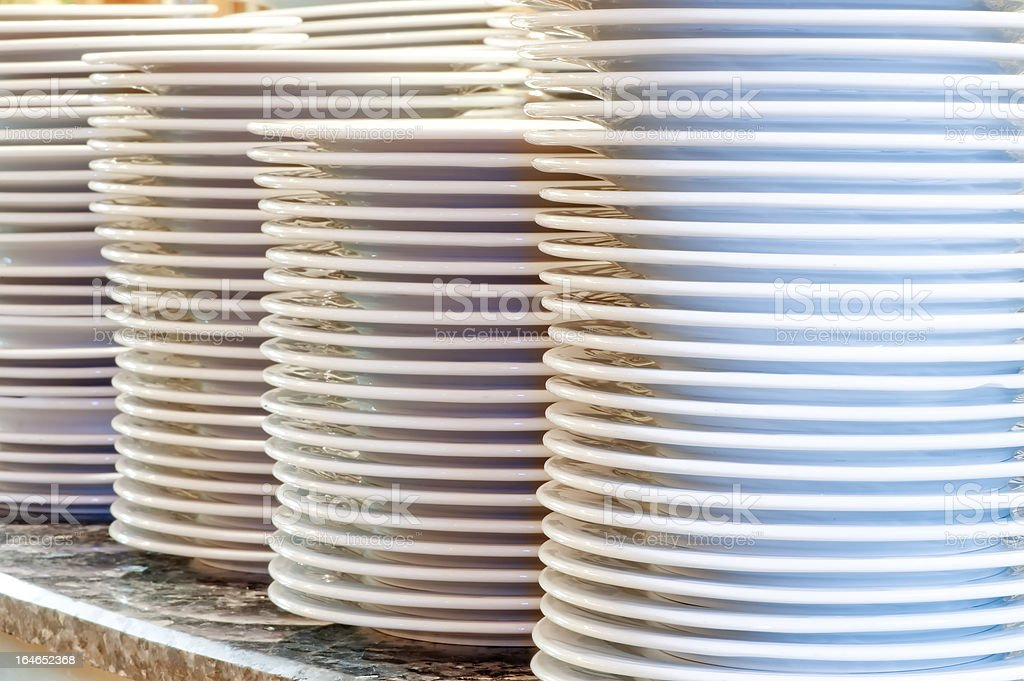 Piles of clean utensils royalty-free stock photo