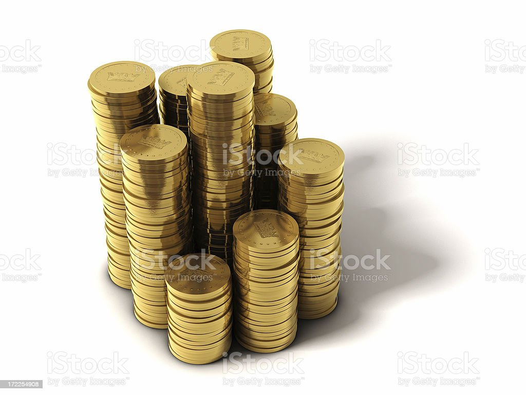 Piles of Coins royalty-free stock photo