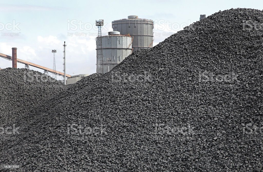 piles of coking coal stock photo