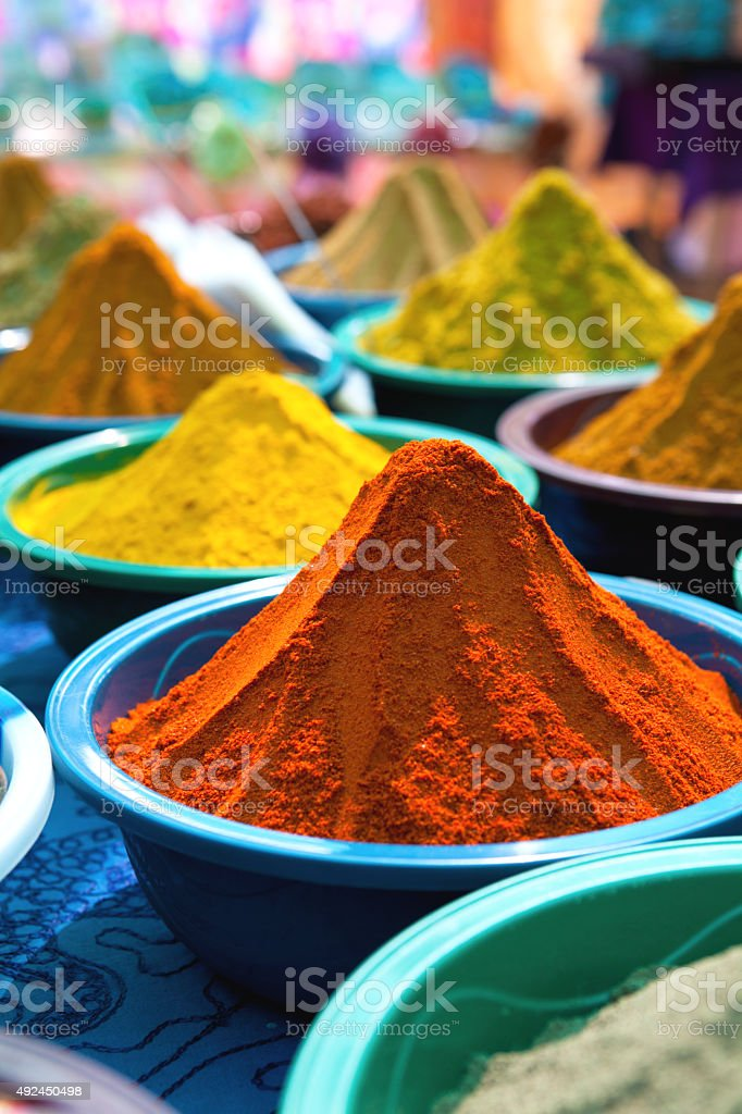 Piles of colourful spices stock photo