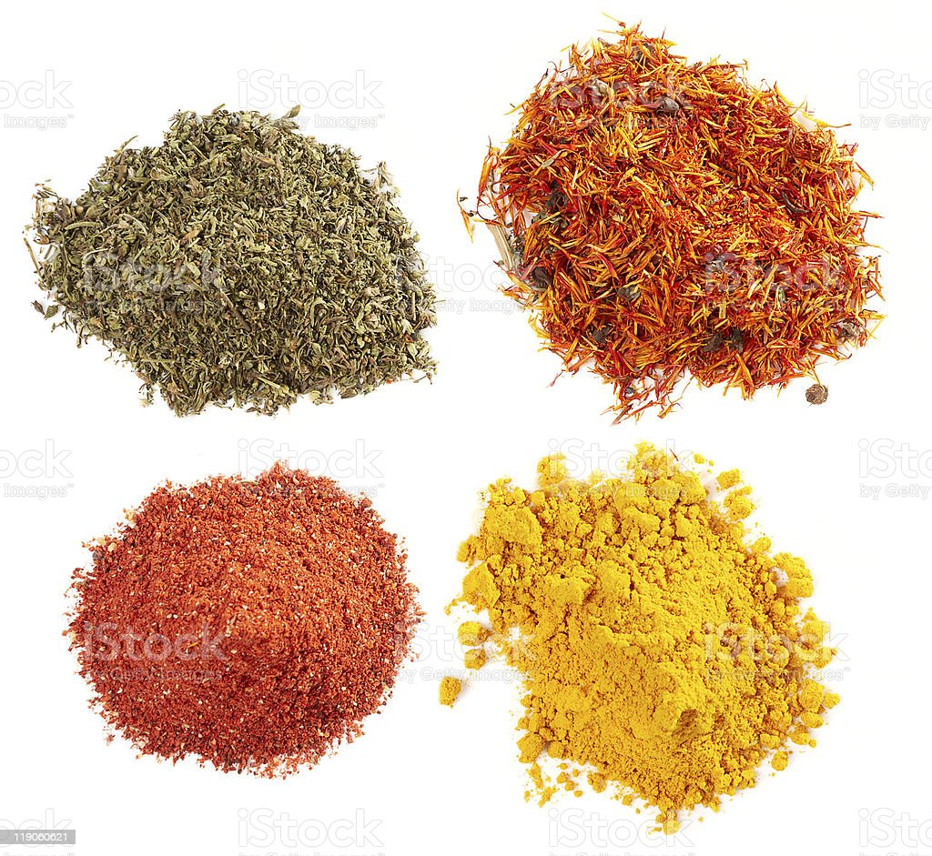 Piles of different spices royalty-free stock photo