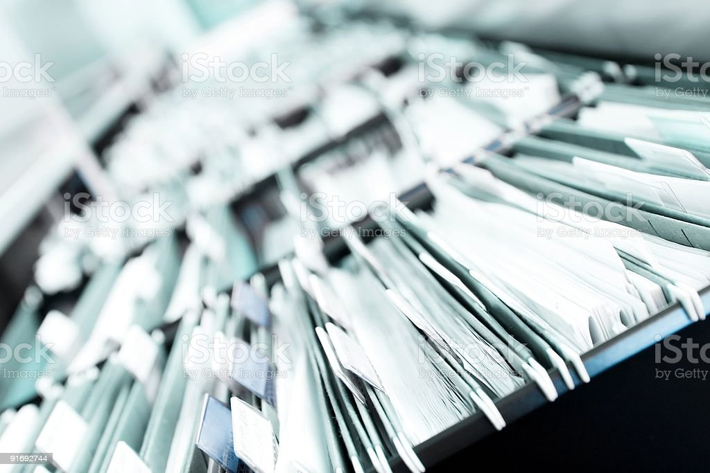 Piles of files stock photo