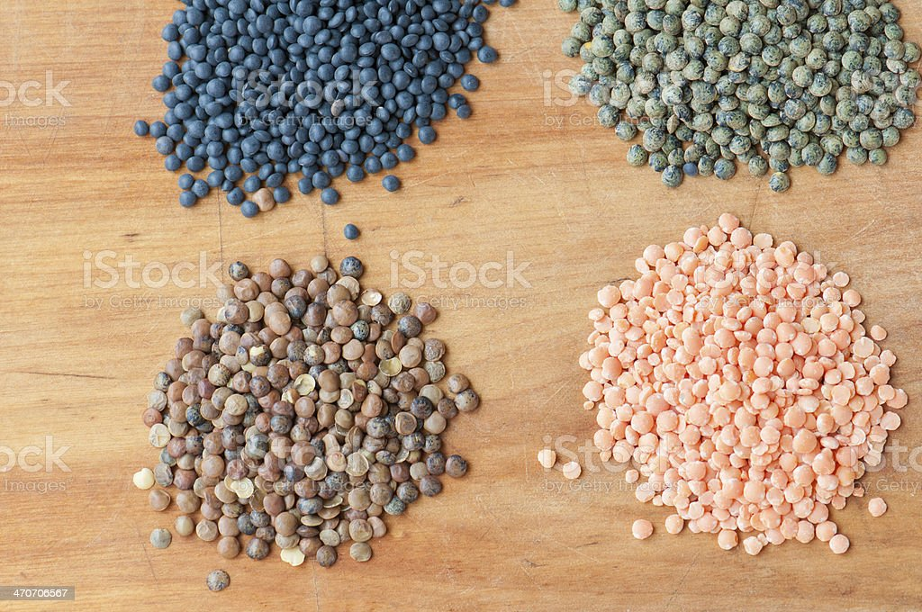 Piles of Four Different Varieties of Lentils from Above royalty-free stock photo