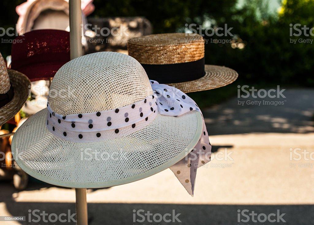 Piles of hats stock photo