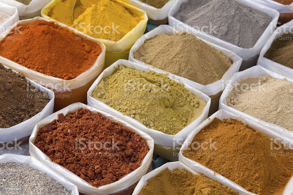 piles of Indian powder spices royalty-free stock photo