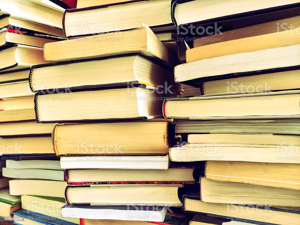 Piles of old books stock photo