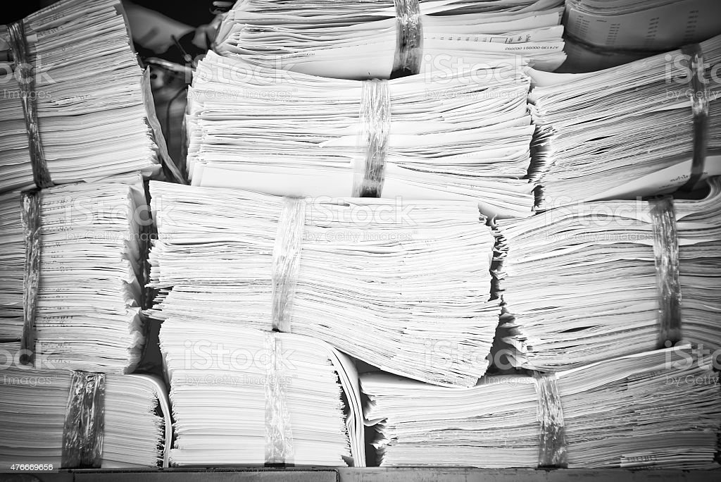 Piles of old paper stock photo
